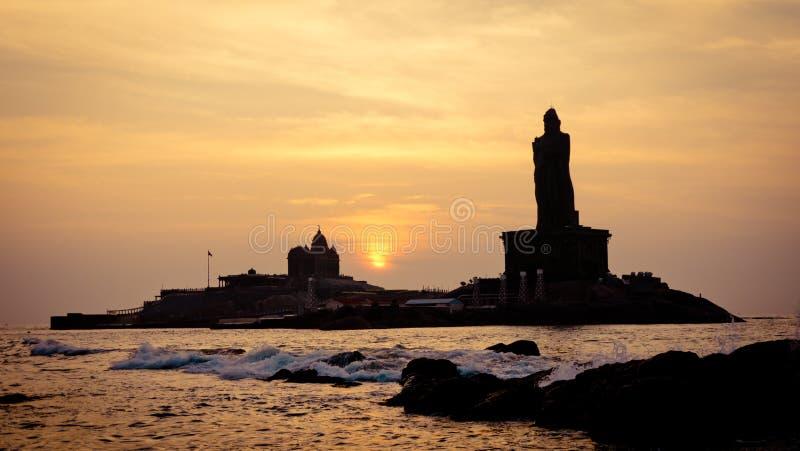 Sunrise above the sea silhouette of coast of India Kanyakumari. Cape Comorin South of India royalty free stock images