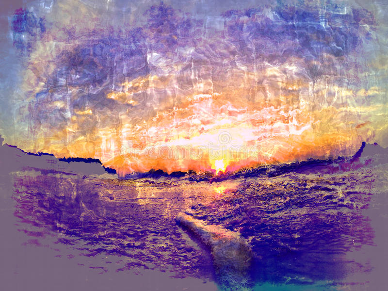 Sunrise abstract. Drawing and mixed effects stock photos