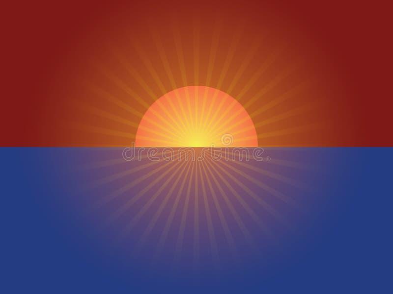 Sunrise abstraction. Delightful sunrise above the sea abstraction stock illustration