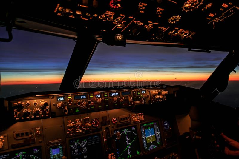 Sunrise from an aircraft royalty free stock image