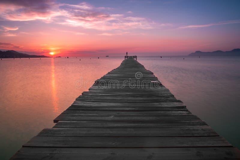Sunrise at Alcudia, Spain. stock photos