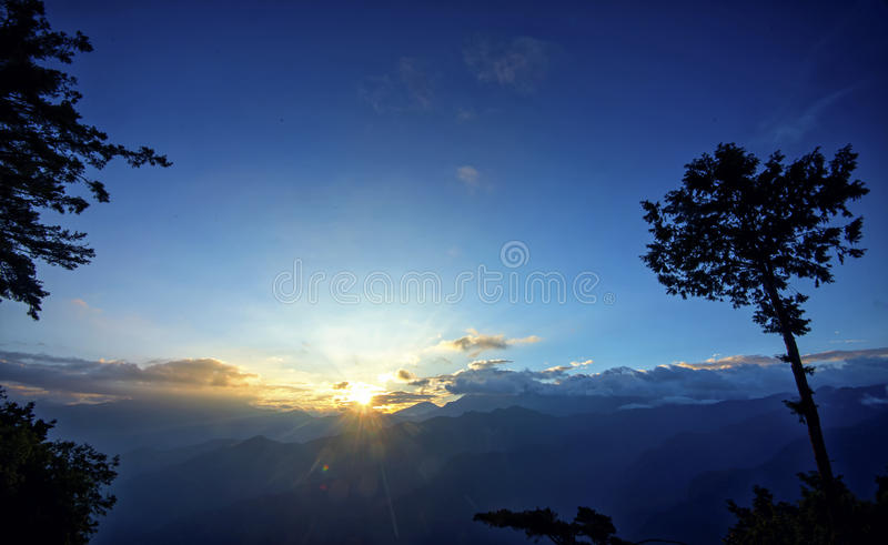 Sunrise of Ali Mountain (Ali Shan, Taiwan). At the top of this mountain royalty free stock image