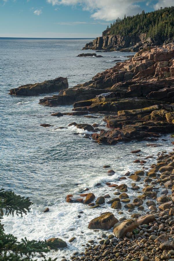Sunrise along the maine coast stock image