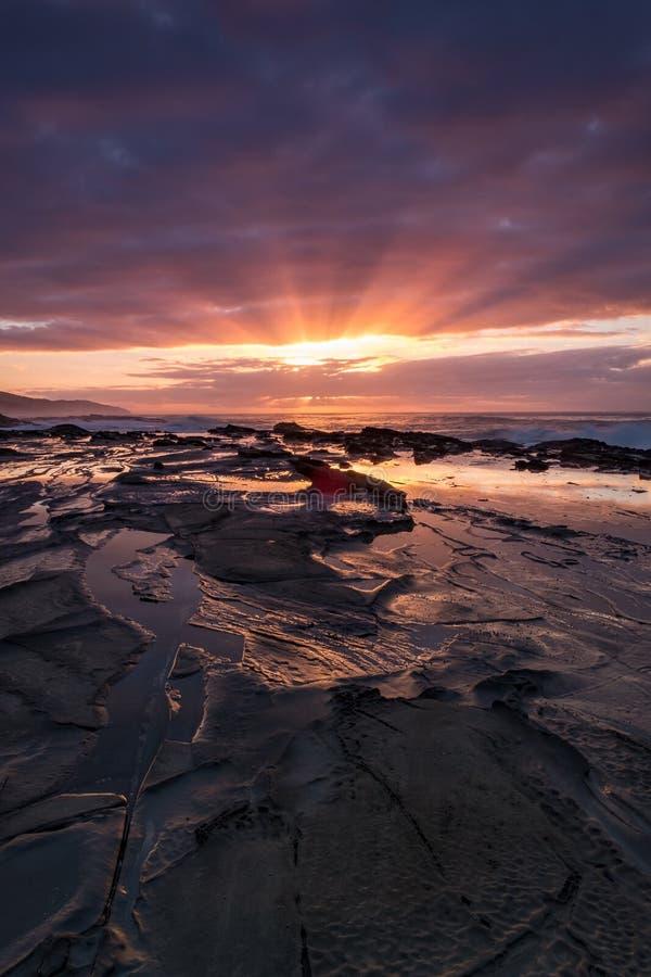 Sunrise alongside the Great Ocean Road in Australia stock photography