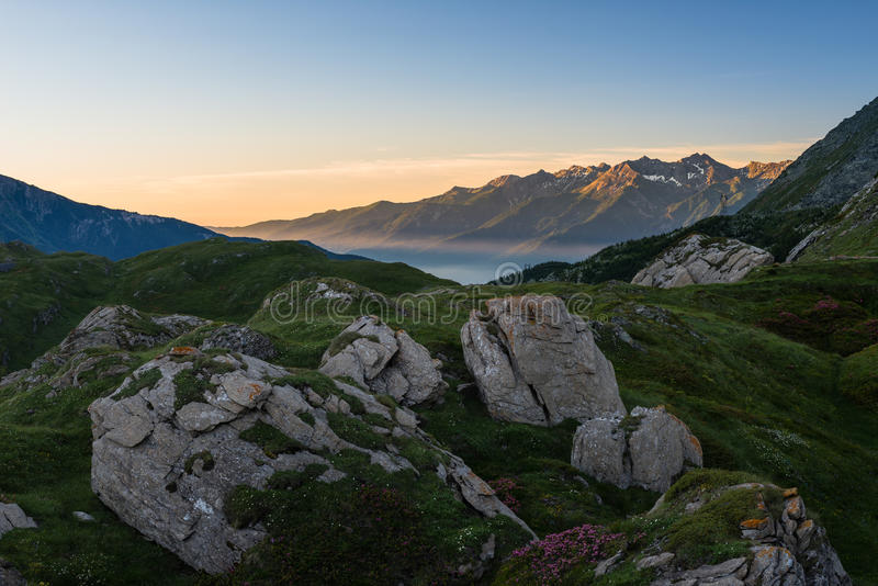 Download Sunrise on the Alps stock image. Image of land, horizon - 42176821