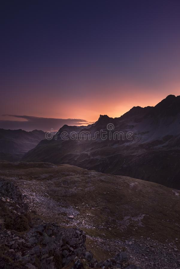 Sunrise in the Alps royalty free stock photos