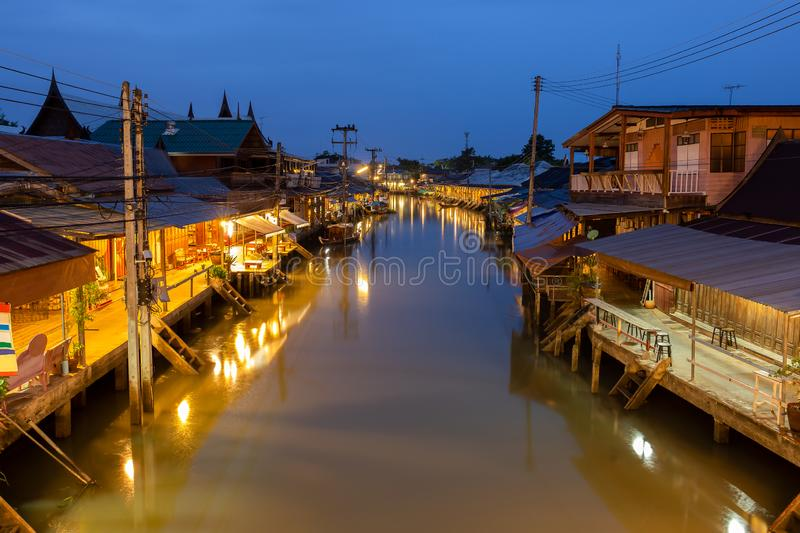 Sunrise at Amphawa floating Market and thai cultural for tourist destination. Sunrise at Amphawa floating Market and thai cultural for tourist destination stock photos