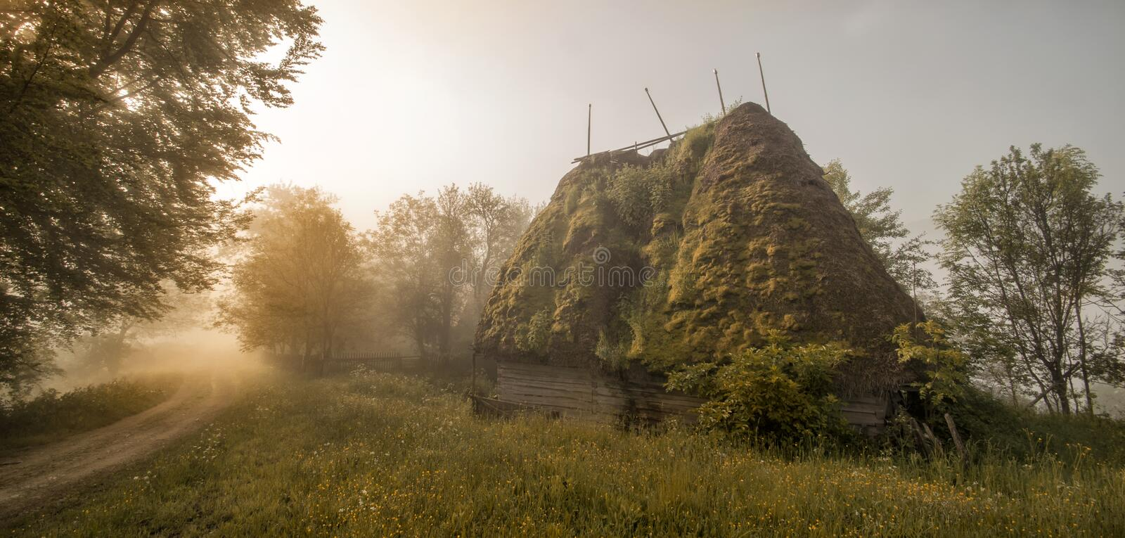 Sunrise in the ancient mountain village stock image