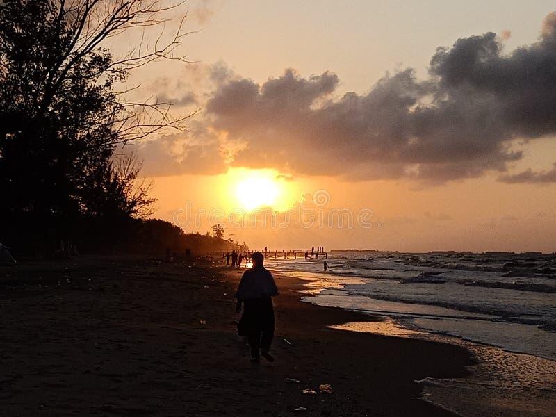 Sunrise at Angsana Beach in South Kalimantan Indonesia stock photo