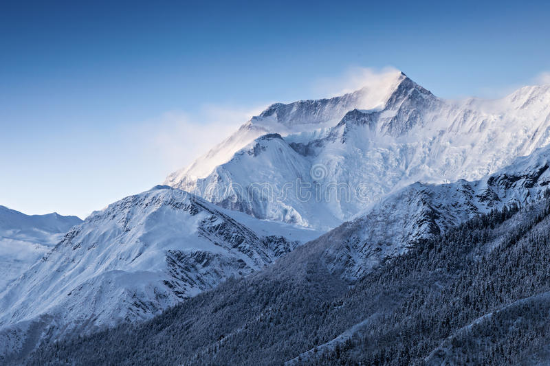 Before sunrise in Annapurna mountains royalty free stock image