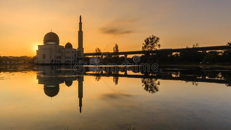 Sunrise at as-salam mosque puchong, malaysia. Glorious sunrise at as-salam mosque puchong, malaysia stock image