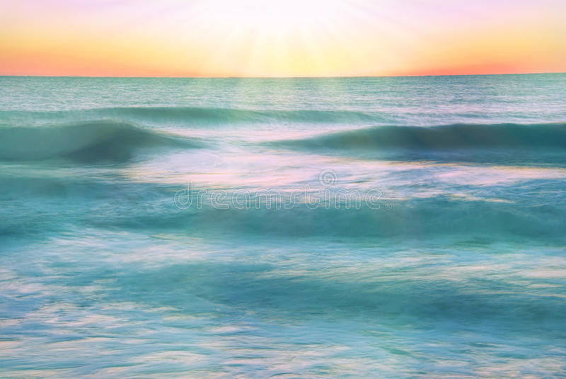 Sunrise at the Atlantic Ocean in Myrtle Beach South Carolina USA. Long exposure captures the beauty of sunrise at the Atlantic Ocean in Myrtle Beach South royalty free stock photography