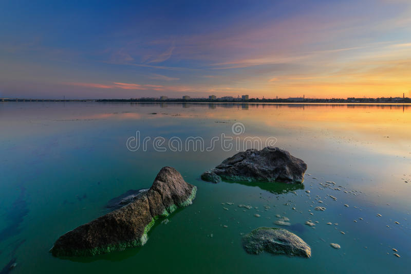 Sunrise of August on the Dnieper. Majestic Sunrise on the Dnieper. Dnipropetrovsk, Ukraine stock photo
