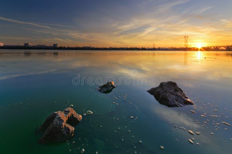Sunrise of August. Majestic Sunrise on the Dnieper. Dnipropetrovsk, Ukraine stock photos