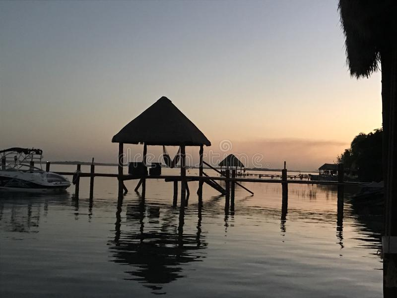 Sunrise in Bacalar royalty free stock photography