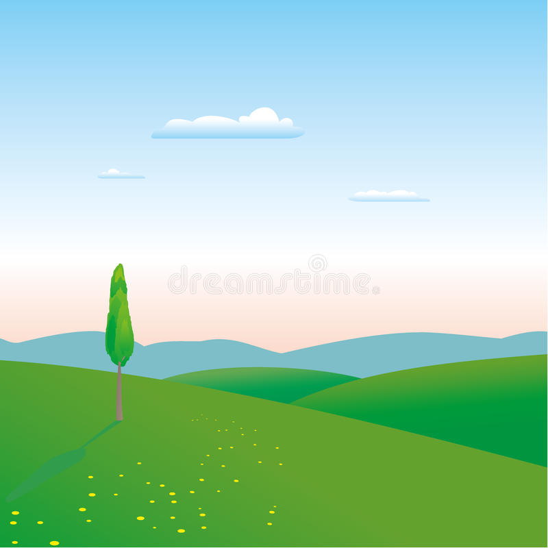 Sunrise background. With meadow, flowers, tree and small clouds stock illustration