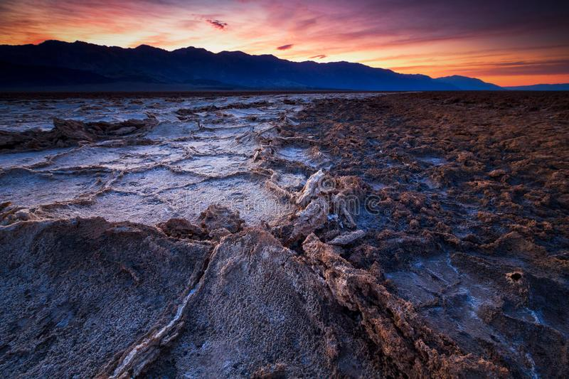 Badwater basin, Death Valley, California, USA. Sunrise at Badwater basin, Death Valley, California, USA royalty free stock images