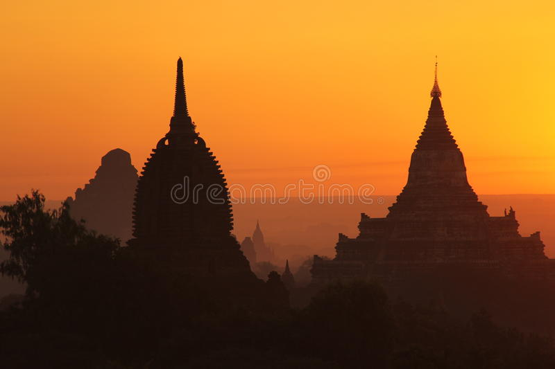 Sunrise at Bagan stock images