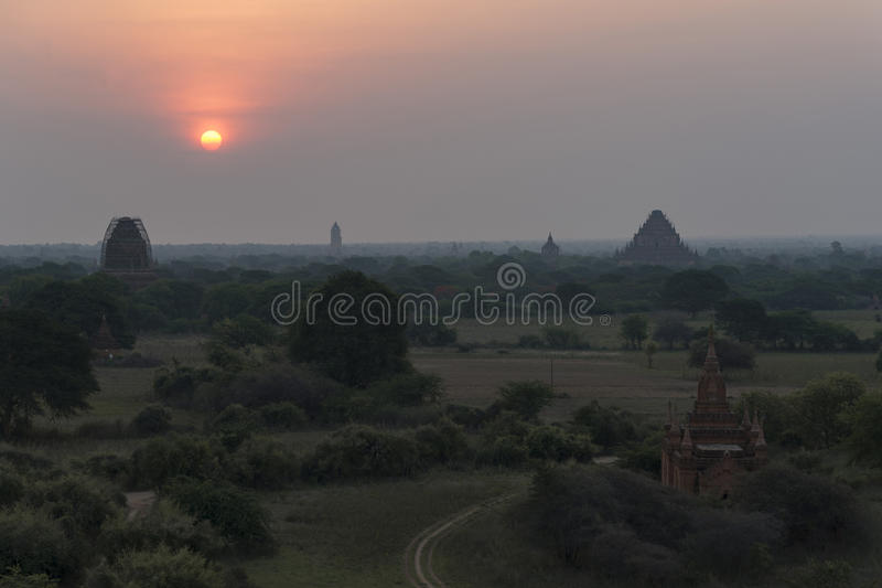 Sunrise in Bagan, Mandalay, Myanmar. Bagan is an ancient city located in the Mandalay Region of Myanmar. From the 9th to 13th centuries, the city was the capital royalty free stock image