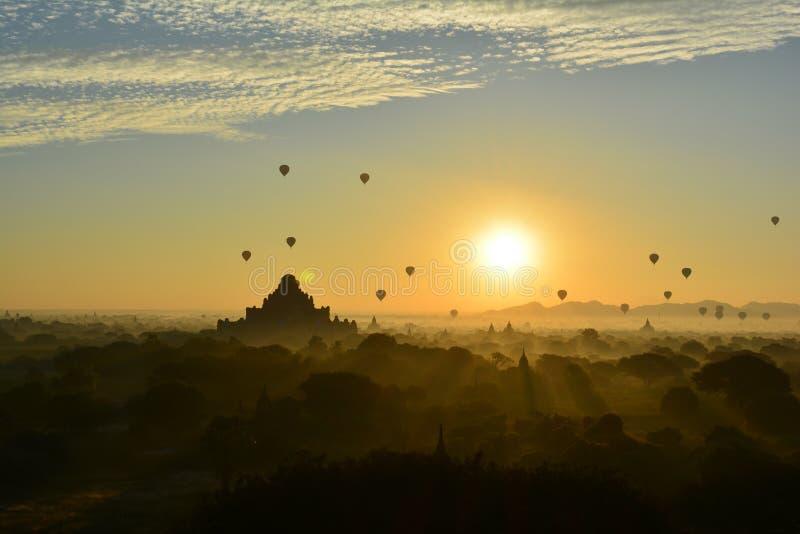 Sunrise in Bagan, at Shwesandaw Pagoda royalty free stock images