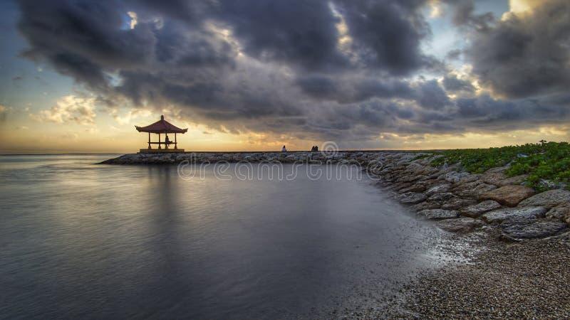 Sunrise in bali stock photos