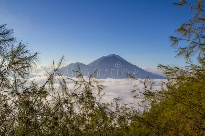 Sunrise on Batur volcano - Bali royalty free stock image