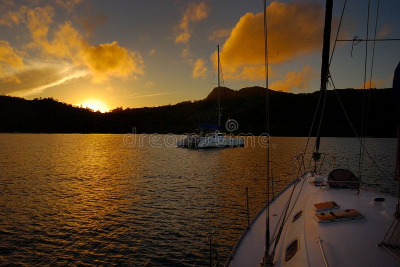 Sunrise in the bay stock images