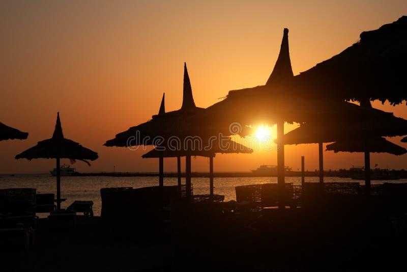 Download Sunrise on the beach stock photo. Image of straw, coastline - 14670456