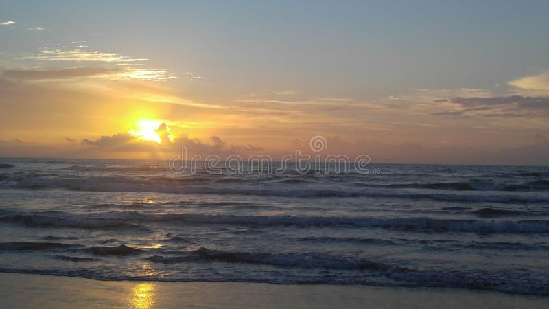 Sunrise beach gulf of Mexico. Sunrise over gulf of Mexico from south padre island royalty free stock photography