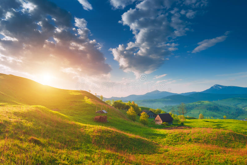 Sunrise with beautiful clouds in a sky stock image