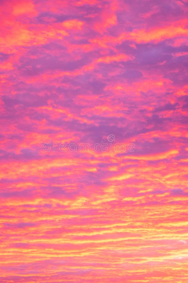 Before sunrise beautiful colorful cloudy sky. Portrait image.5. Cloudy skies early in the morning before sunrise. The sun is just like the horizon and the clouds royalty free stock photography