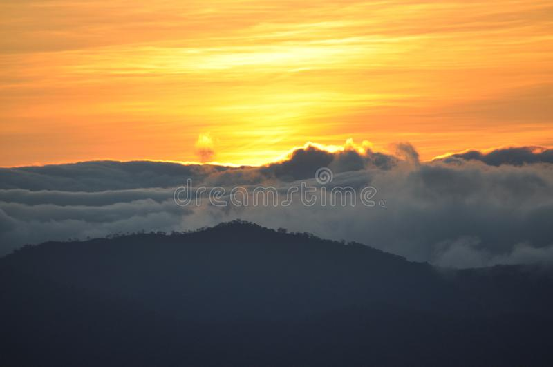 Mount Ulap, mt Ulap, Cordilleras Philippines, Sunrise at dawn, Ampucao mountain ranges, Ampucao, Itogon, Benguet, Philippines. Sunrise beautiful colourful royalty free stock photography