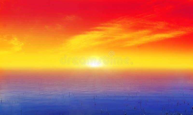 Sunrise over mist ocean stock images
