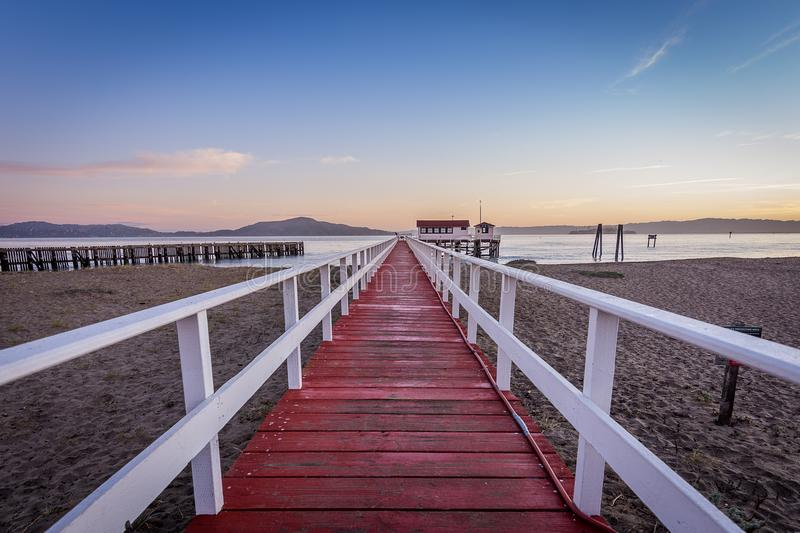 Sunrise begins from Crissy Field Beach royalty free stock photography