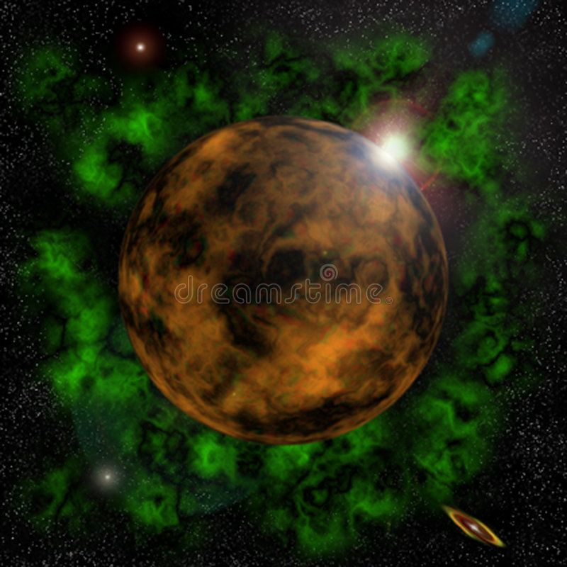 Download Sunrise behin a planet stock illustration. Illustration of stars - 100354