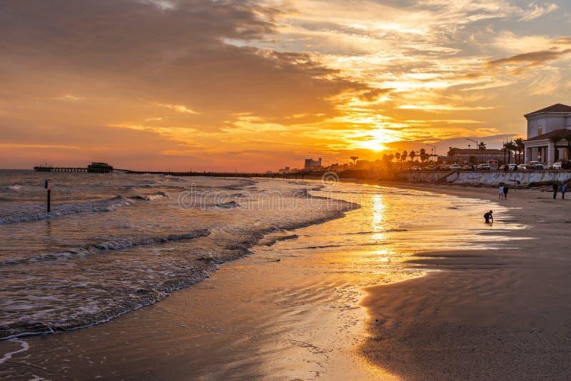 Galveston Island, Texas. Sunrise behind the Historic Pleasure Pier on Galveston Island, Texas in the Gulf of Mexico royalty free stock image