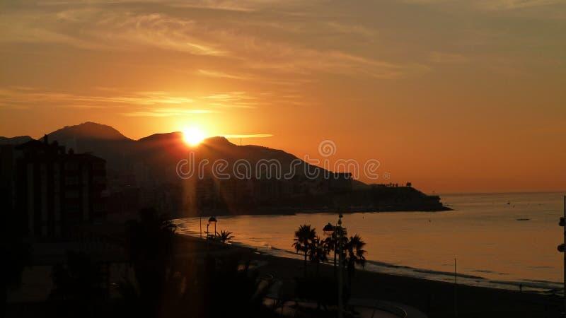 Sunrise in Benidorm, Spain stock photo