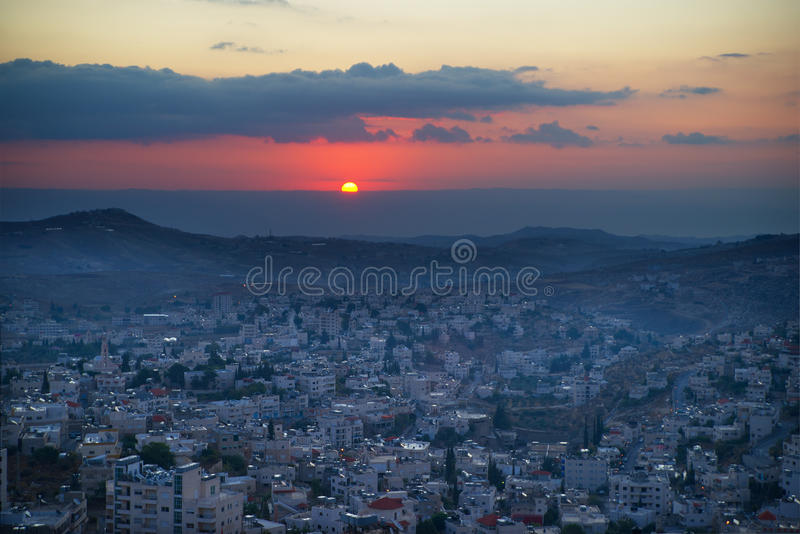 Sunrise in Bethlehem, Palestine, Israel stock photo