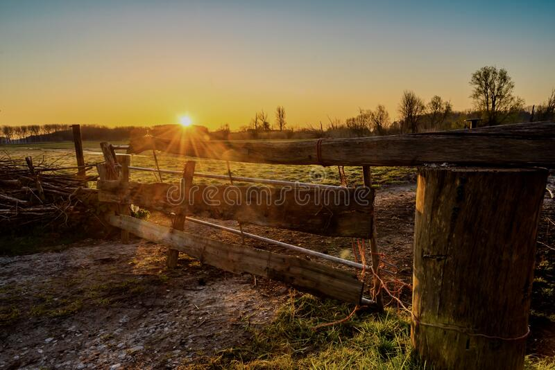 Sunrise Bieslandse Polder royalty-vrije stock afbeeldingen