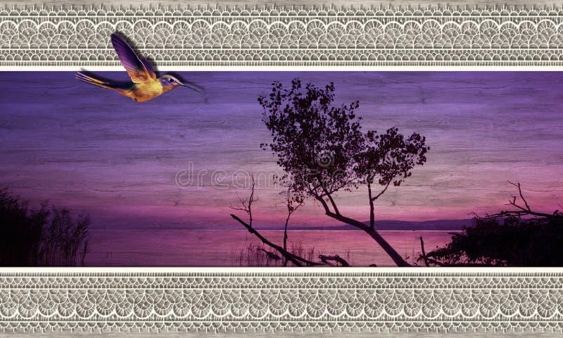 Sunrise, bird, nature on wood. 3D wallpaper texture, sunrise, birds, nature abd lace on wood background. Mural effect royalty free stock photo