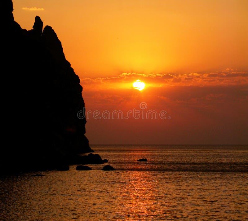 Sunrise on Black sea stock image