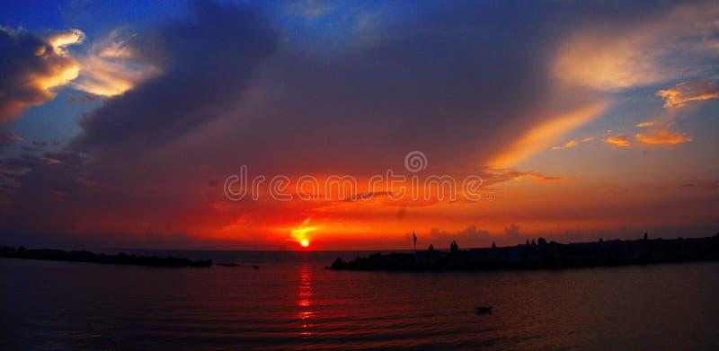 Sunrise at Black Sea. Blue sky. royalty free stock photo