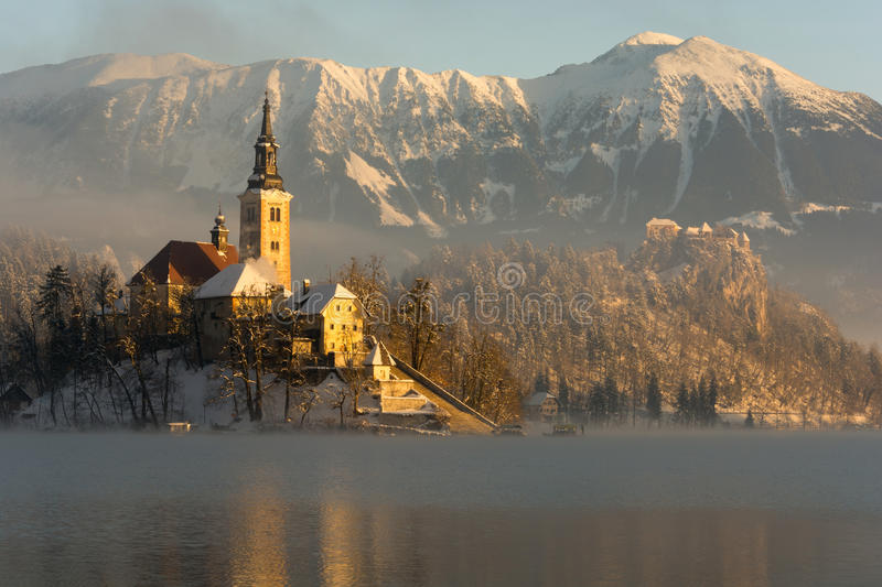 Sunrise on Bled island royalty free stock photography