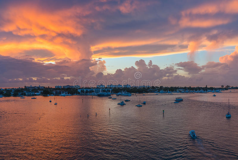 The Sunrise from Blue Heron Bridge in South Florida royalty free stock photography