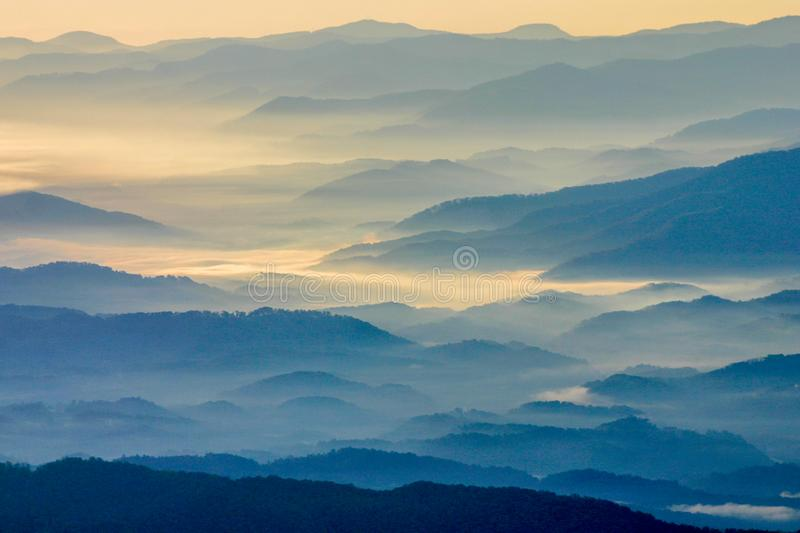 Sunrise on the Blue Ridge Mountains in Smoky Mountain National Park. Sunrise on the rolling hills at Clingman`s Dome in Great Smoky Mountain National Park in royalty free stock photography