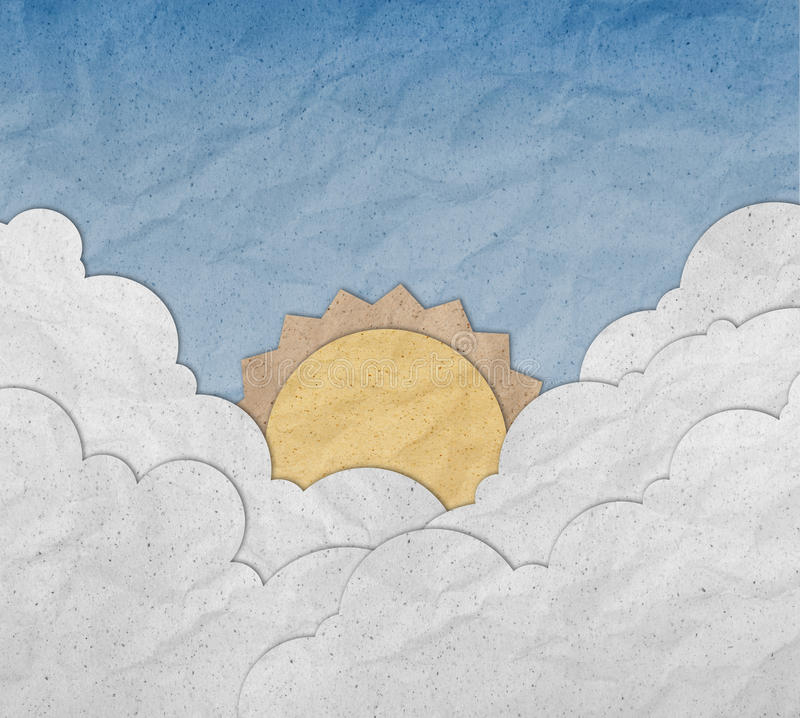 Sunrise with blue sky made from paper stock illustration