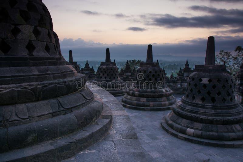 Sunrise at Borobudur Buddhist Temple, Java Island, Indonesia. Unesco World Heritage Site stock photo
