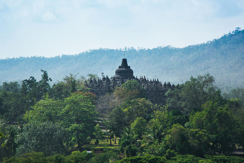 Sunrise at Borobudur Buddhist Temple, Java Island, Indonesia. Unesco World Heritage Site royalty free stock photos