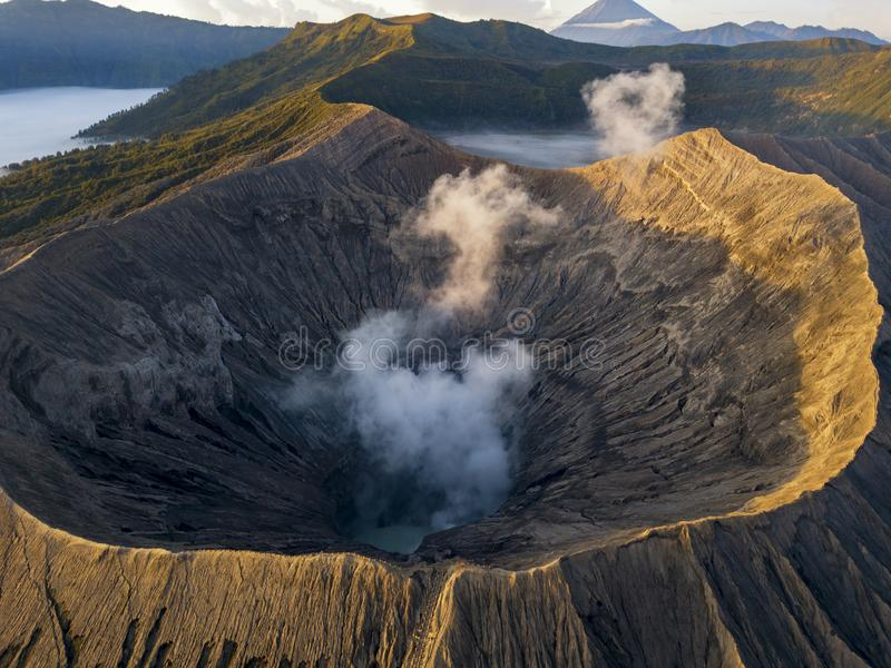 Sunrise at Bromo Tengger Semeru National Park in East Java, Indonesia. Sunrise at Bromo Tengger Semeru National Park in East Java, Indonesia taken with a drone royalty free stock photography