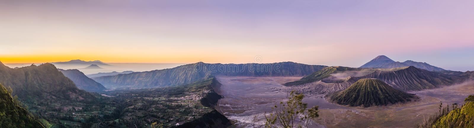 Sunrise at the Bromo Tengger Semeru National Park on the Java Island, Indonesia. View on the Bromo or Gunung Bromo on stock photo